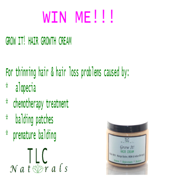 giveaway, freebies, free, win, hair product, natural, beauty, vega, organic, tlc naturals, hair growth, grow it, cream, hair loss, alopecia, breakage, thinning hair, premature balding, all natural,